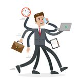 Businessman in a rush. Businessman in a rush with six hands. Running man in stress Royalty Free Stock Photo