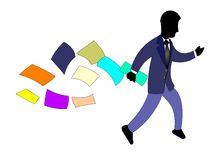 Businessman Rushing. Around with papers flying behind him Royalty Free Stock Photo