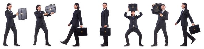 The businessman rushing isolated on the white background Royalty Free Stock Image