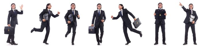 The businessman rushing isolated on the white background Royalty Free Stock Photography