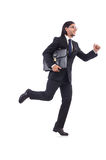 Businessman rushing isolated Stock Images