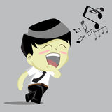 Businessman rushing singing Stock Image