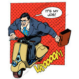 Businessman rushing to work on the scooter Stock Images
