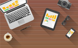Businessman's desk with laptop, tablet,  smart phone and stationery. Royalty Free Stock Photos