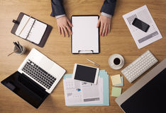 Businessman's desk top view Royalty Free Stock Photo