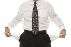 Businessman's empty pockets Royalty Free Stock Photography