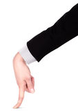 Businessman's  finger pointing or touching Royalty Free Stock Image