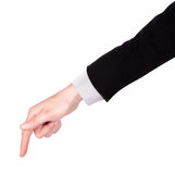 Businessman's  finger pointing or touching. Image of a Businessman's  finger pointing  or touching isolated Royalty Free Stock Photo