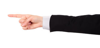 Businessman's  finger pointing or touching. Image of a Businessman's  finger pointing  or touching isolated Stock Images