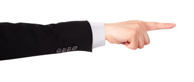 Businessman's  finger pointing or touching. Image of a Businessman's  finger pointing  or touching isolated Stock Photography