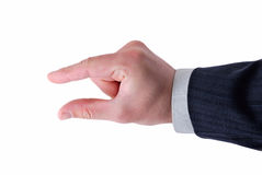 Businessman's fingers showing size. Of something Stock Photos