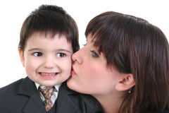 Businessman's First Kiss Royalty Free Stock Images