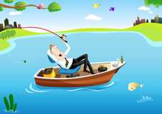 Businessman's fishing time. Businessman relaxing on a boat, while fishing in the middle of the lake Stock Images