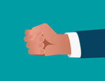 Businessman`s fist on blue background. Concept business illustra. Tion. Vector flat Stock Photography