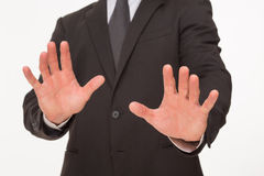 Businessman's gesture with hands stock images