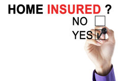 Businessman`s hand approving home insured Royalty Free Stock Images