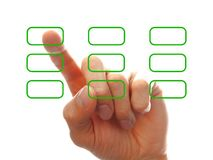 Businessman�s hand chooising one of the options Stock Photo