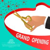The businessman`s hand with gold scissors. Ceremonial opening. Beginning. Festive poster.3D. Isometry. Vector illustration vector illustration