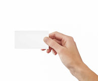 Businessman's hand holding blank paper Stock Photo