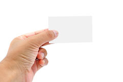 Businessman's hand holding blank paper business card, Stock Photos