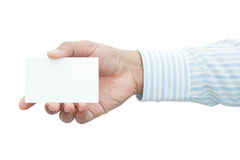 Businessman's hand holding blank white paper business card Stock Images