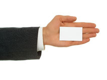 Businessman's hand holding business card. Isolated Stock Images
