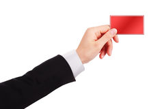 Businessman's hand holding  business card Royalty Free Stock Photo