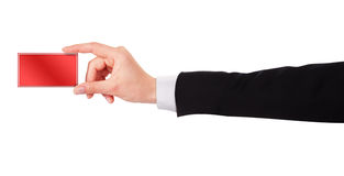 Businessman's hand holding  business card Royalty Free Stock Images