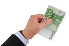 Businessman's Hand Holding Euro Royalty Free Stock Photography