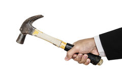 Businessman's hand holding old hammer, isolated on white background Stock Photo