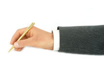 Businessman's Hand Holding Pen Stock Image