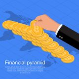 The businessman`s hand. Supporting a pyramid from coins bitcoin.World business concept.Distribution of cryptocurrency in the world.Isometry. Flat style. Vector Stock Images