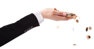Businessman's Hand throwing Money Royalty Free Stock Images