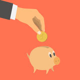 Businessman's hand throwing in a pig. Flat design style vector illustration. Businessman's hand throwing in a pig. Financial concept. Isolated on red background Royalty Free Stock Photo