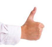 Businessman's hand with thumb up Stock Photography