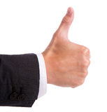 Businessman's hand with thumb up. On white Royalty Free Stock Photography