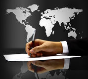 Businessman S Hand With Pen Royalty Free Stock Images