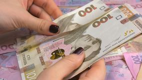 Businessman`s hands counting money hryvnia. Counting Ukrainian money. Businessman`s hands counting money hryvnia. Counting Ukrainian money stock video