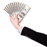 Businessman's hands with dollars isolated Royalty Free Stock Photo