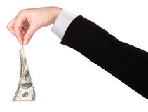 Businessman's hands with dollars isolated Royalty Free Stock Image