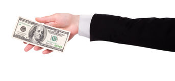Businessman's hands with dollars isolated Stock Image