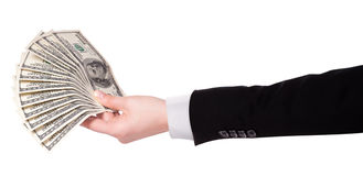 Businessman's hands with dollars isolated Royalty Free Stock Photography