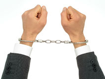 Businessman's Hands In Handcuffs Stock Photography