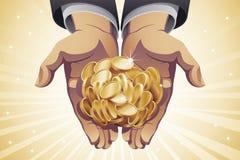 Businessman's Hands Holding Gold Coins. A handful of gold coins in businessman's hands Stock Photos