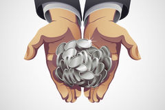 Businessman's Hands Holding Silver Coins Stock Photo