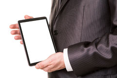 Businessman's hands showing a tablet pc comuter with blank screen for your sample text. Isolated on white Stock Photo