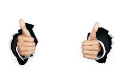 Businessman's hands with thumbs up Royalty Free Stock Photos