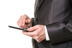 Businessman's hands working on a tablet pc comuter Stock Image