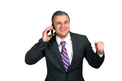 Businessman's phonecall. Business brings result. Happy to hear good news. Positive attitude. Businessman's phonecall Stock Photos