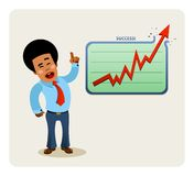 Businessman's presentation. Illustration of African-American businessman making a breakthrough presentation Stock Images